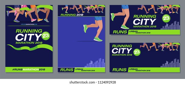 Vector pattern design jogging marathon advertising banner style navy blue foot runners city