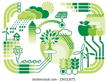 vector pattern diagram of environment and ecology