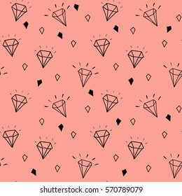 Vector pattern with diamonds. Seamless pattern can be used for wallpaper, pattern fills, web page background,surface textures and fabrics. Black and white design.