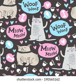 Vector pattern dogs and cats love