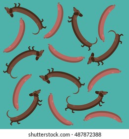 vector pattern of dogs and hot dogs