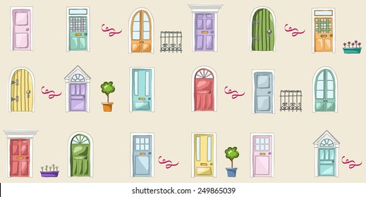 Vector pattern of doors. Cute doors of home, apartment and others buildings.Sweet hand drawing illustration. Pink, yellow, green, red, blue.
