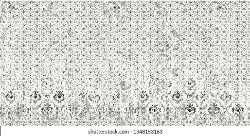 Vector  pattern with drawn lace at gray background vintage effect . For art texture, vintage, ethnic , modern damask  pattern for carpet, rug, scarf, clipboard , shawl pattern.
