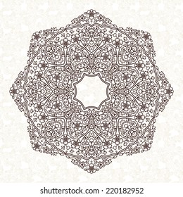 Vector pattern in Eastern style. Ornate element for design and place for text. Ornamental lace pattern for wedding invitations and greeting cards. Traditional black decor on light background.
