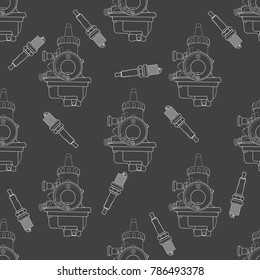 Vector pattern of elements for engine, carburetor and candle It can be used for backgrounds, websites, brochures, postcards, etc.
