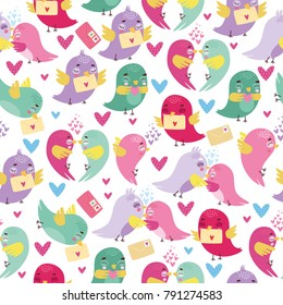 vector pattern with enamored birds. postal romance. a bird, a dove, a sparrow. Valentine's Day