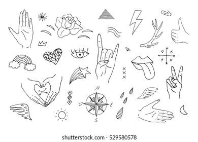 vector pattern finger hands doodle line set