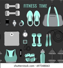 Vector pattern of fitness elements: gym bag, running shoes, weights, scales, bottle, weights, gloves, timer, jump rope. Top view.