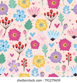 vector pattern with flowers, berries and hearts, use for the day holy valentine, packing, textiles, design of bed linen