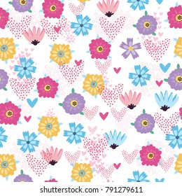vector pattern with flowers and hearts, use for the day of the holy valentine