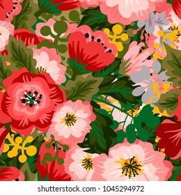 Vector pattern with flowers and leaves. Perfect for the design of postcards, wallpapers, printing on fabric  and so on.