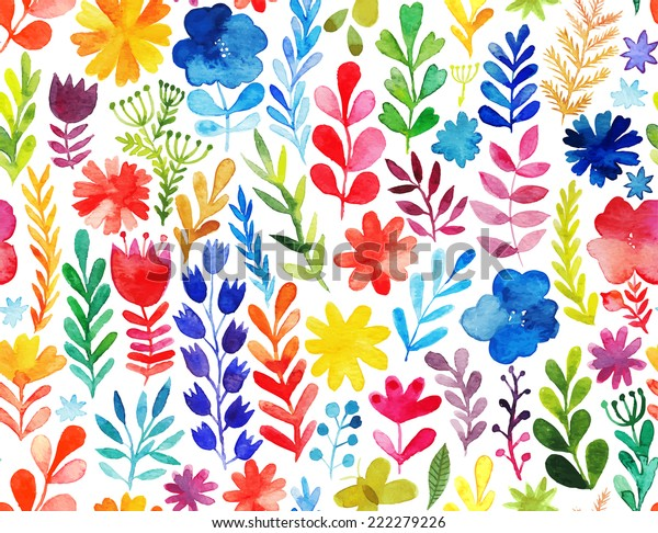 Vector pattern with flowers and plants. Floral decor. Original floral seamless background. Bright colors watercolor, autumn-summer botanical elements