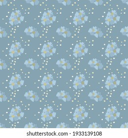 Vector pattern with flowers, splashes in a doodle style on a dark blue background. Suitable for backgrounds, textiles, textiles, wrapping paper, wallpapers