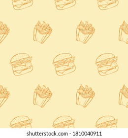 Vector pattern of fries and hamburger on a beige background. Drawn by hand. Fast food. Menu.