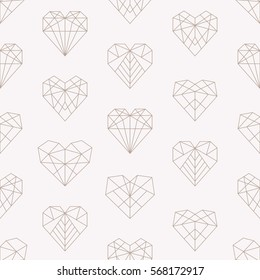 Vector pattern of geometric beige hearts. Seamless pink background.