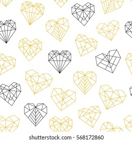 Vector pattern of geometric gold black hearts. Seamless background.