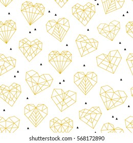 Vector pattern of geometric gold hearts. Seamless background.