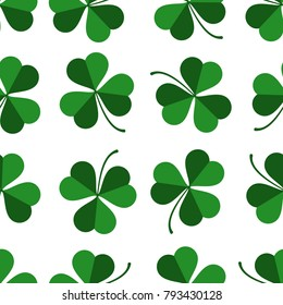 Vector pattern with green clover leaves on the transparent background . texture of green Shamrock for holiday Saint Patricks day