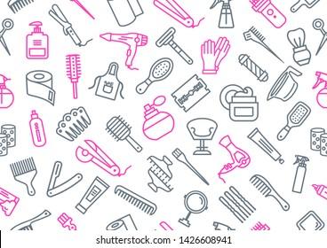 Vector pattern of hairdresser elements on white background. Illustration of hairdresser accessories.