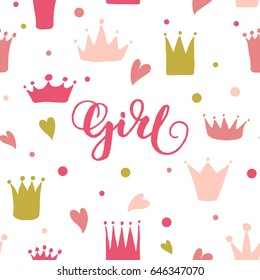 Vector pattern of hand drawn crowns and hearts for young princess. Queen crown doodle style. Girl lettering. Can be used for paper napkins design.