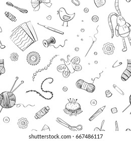 Vector pattern handmade, handicrafts. Isolated drawings on white background.