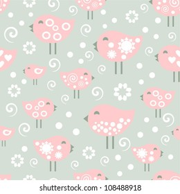vector pattern, happy birds
