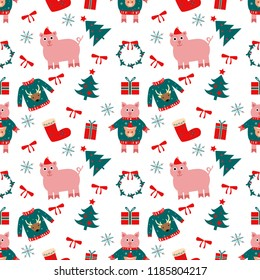 Vector pattern for Happy New Year. Art  can be used for invitation, postcard, poster, wallpaper, holiday packing. Christmas symbol: tree, santa, gift, pig, sock, dear, snowflake, pig, mistletoe.