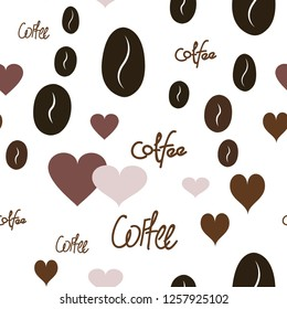 Vector Pattern with Heart, text and coffee. Elements are not cropped. Pattern under the mask. Perfect design for textile, box, posters, cards, web etc.