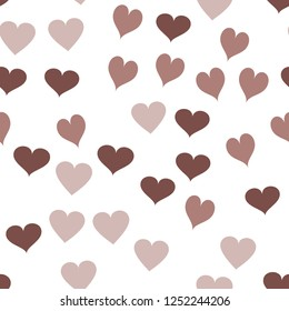Vector Pattern with Hearts  in chocolate color. Elements are not cropped. Pattern under the mask. Perfect design for textile, box, posters, cards, web etc.