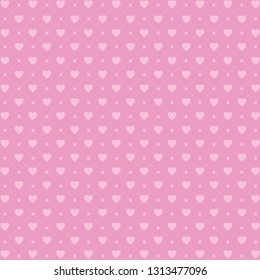 Vector pattern with hearts and dots, romantic wallpaper, background for mother's day or valentine's day, 8th march