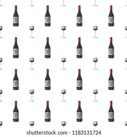 Vector pattern illustration in a chaotic manner with wineglass with red wine and dark grey wine bottle, red cap and sticker with text