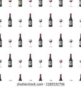 Vector pattern illustration with wineglass with red wine and dark grey wine bottle, red cap and sticker with text