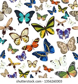 Vector pattern with the image of colored butterflies flying small and large on white background in flat style.