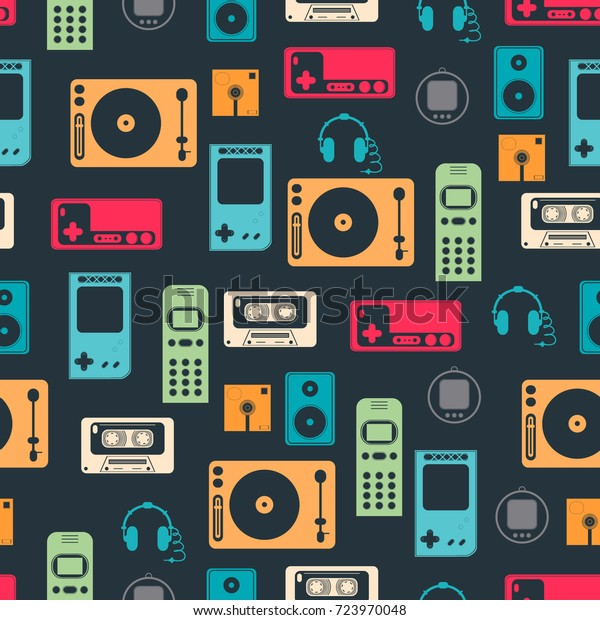 Vector Pattern Image Technology Retro Style Stock Vector