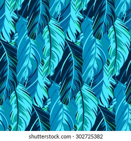 Vector pattern inspired by tropical birds, parrots wings. Seamless feather texture hand drawn in cool blue colors with lines, stripes and abstract shapes. Bold print for winter fall fashion