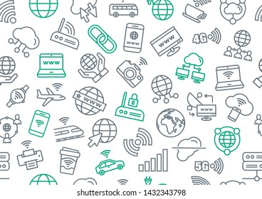 Vector pattern of internet and wi-fi elements on a white background. Illustration of internet related accessories.