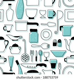 Vector pattern kitchen tableware