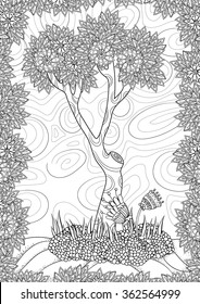 Vector pattern. Landscape with tree and flowers. Coloring book page for adult. A4 format