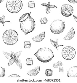 Vector pattern lemonade ingredients on a white background.