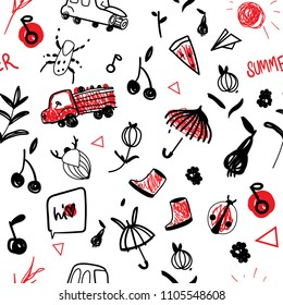 vector pattern line-art children's line monochrome, monochrome with a red accent. Berries are beetles of pears and apples. Children's cute drawing. Pattern for boys. Umbrella, galoshes, truck with fru
