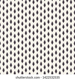 Vector pattern. Linocut striped diamond shapes. Repeating geometrical tile background. Monochrome surface design textile swatch. Modern black white wallpaper, art deco minimal all over print