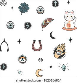 Vector pattern with lucky charms icons symbols isolated on white background.Good luck.Clover,runes,all-seeing eye,spiral curls,hand with eye,feathers,stars,moon,cat,crystals.Paper design.