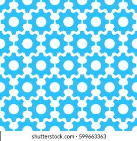 Vector pattern made of cogs. Seamless tiling background. Abstract business concept. Ornament with gears and wheels for wrapping paper, banner, print. Texture for presentation, repair or settings page