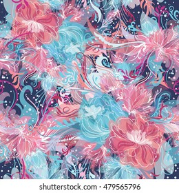 Vector Pattern with Magic Light Flowers   Seamless ornamental doodle sketch style background with watercolor effect and white lines in blue and pink colors