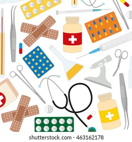 vector pattern of medical supplies isolated on white background