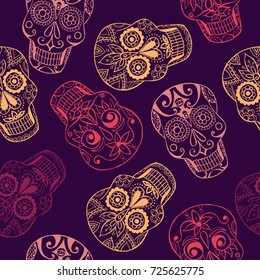Vector pattern  with mexican skulls. Day of the dead