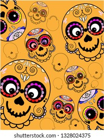 Vector pattern with Mexican sugar skulls  on orange background.. Vector illustration in flat style