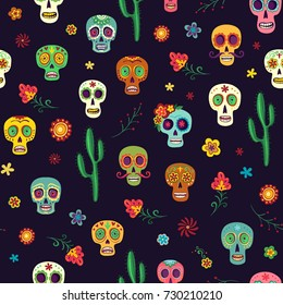 Vector pattern Mexican sugar skulls, cacti and flowers on a dark background. Wallpaper the day of the dead