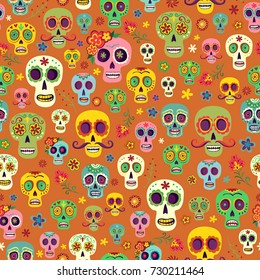 Vector pattern Mexican sugar skulls on an orange background, wallpaper the day of the dead