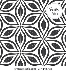 Vector pattern. Monochrome ornament with abstract flower.